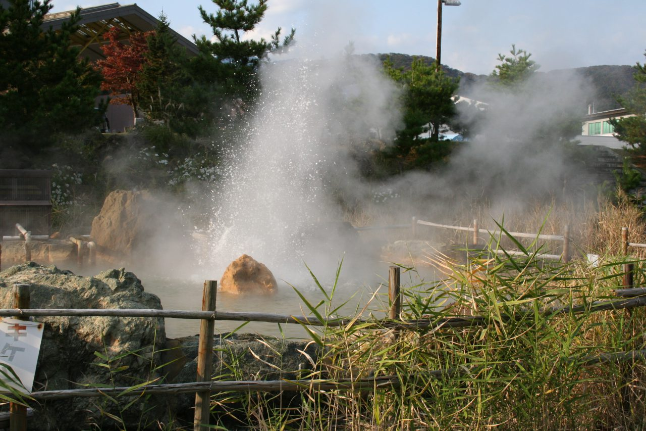 Hot water gushes from the ground at Itoigawa Hot Springs